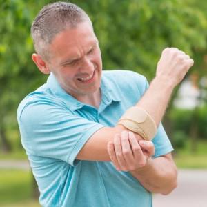 Man wearing elbow brace